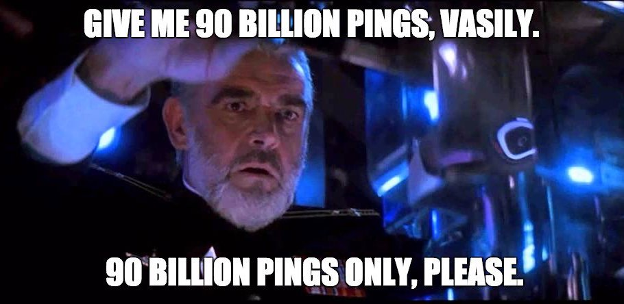 A meme derived from the Hunt for the Red October playfully referencing DDoS pings.